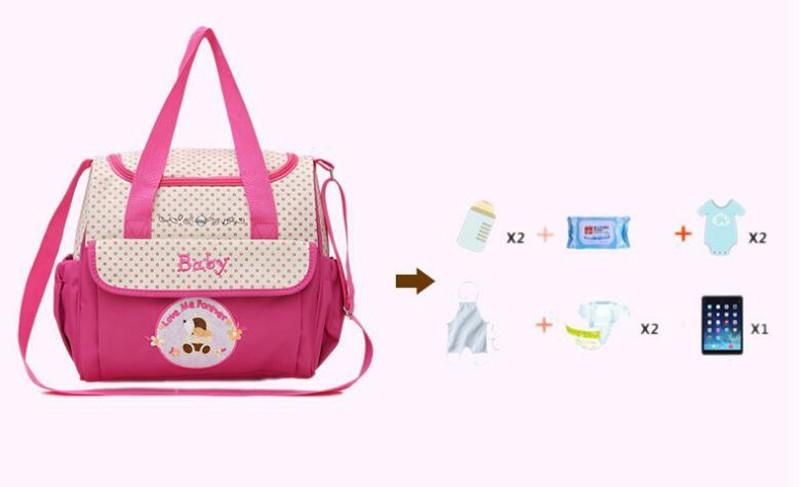 CROAL CHERIE 381830cm 5pcs Baby Diaper Bag Sets changing Nappy Bag For Mom Multifunction Stroller Tote Bag Organizer (3)