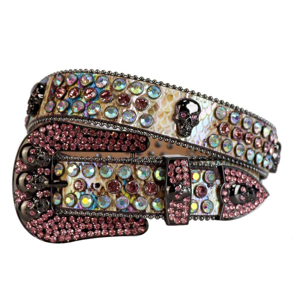 Western Cowboy Bling Bling Colorful Swarovski Crystal rhinestone Belt Skull Conchos Studded Belt Three Removable Buckle for Women and Men