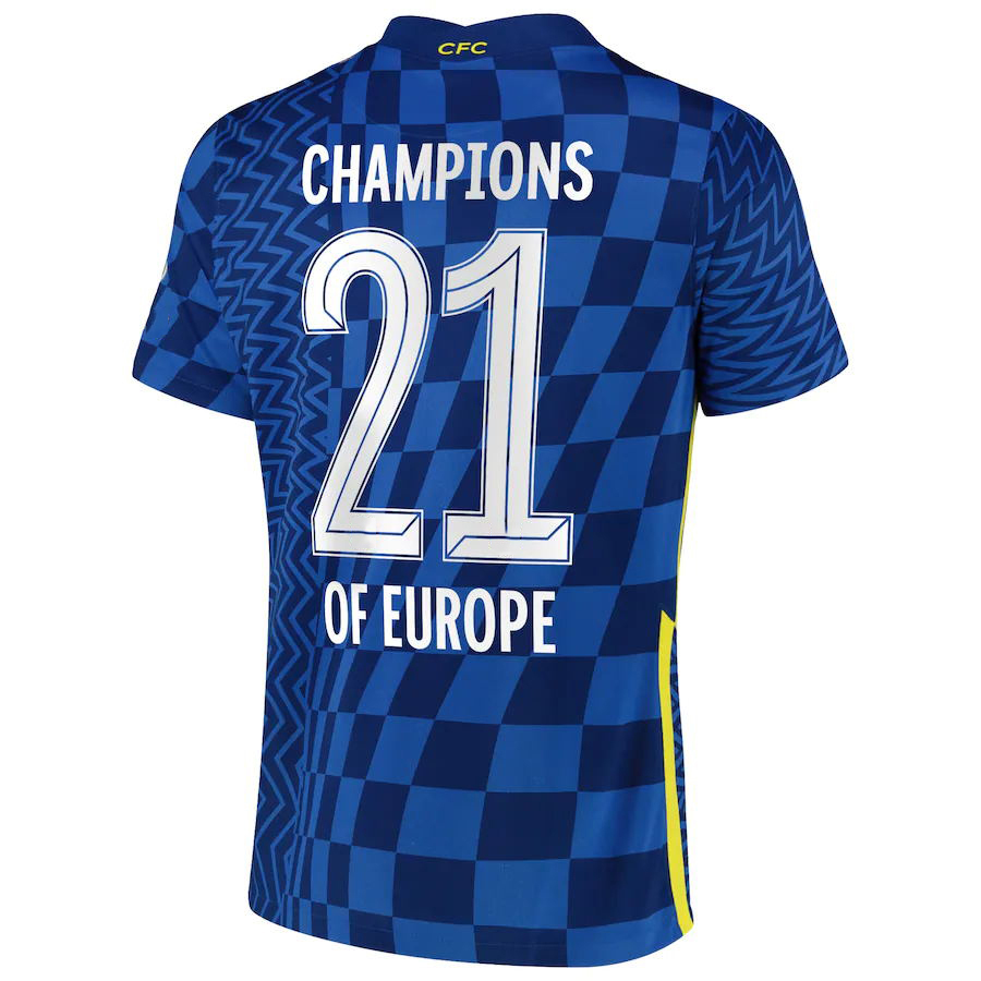 2 Stars 21/22 Home Blue Soccer Jersey 21 CHAMPIONS OF EUROPE Soccer Shirt 2021/2022 Football Uniforms