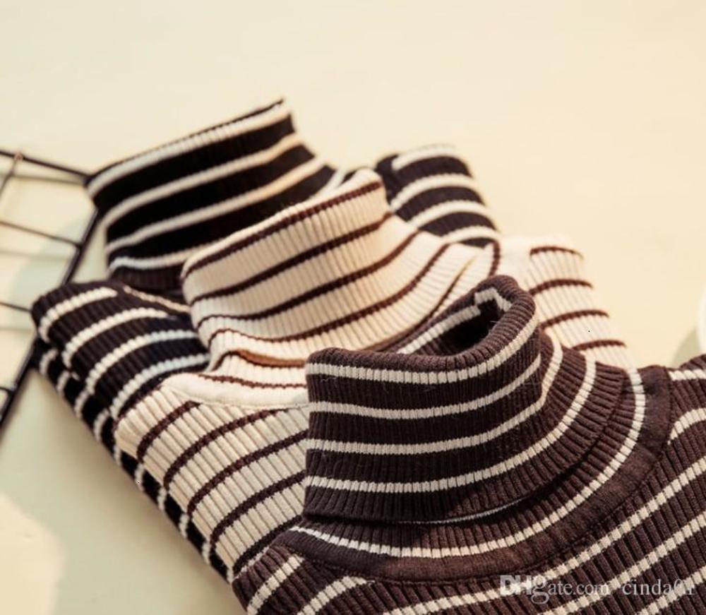 Women T Shirts Stripe Printing T-shirt Autumn Winter Slim Long-sleeved High-necked Shirt Free Size
