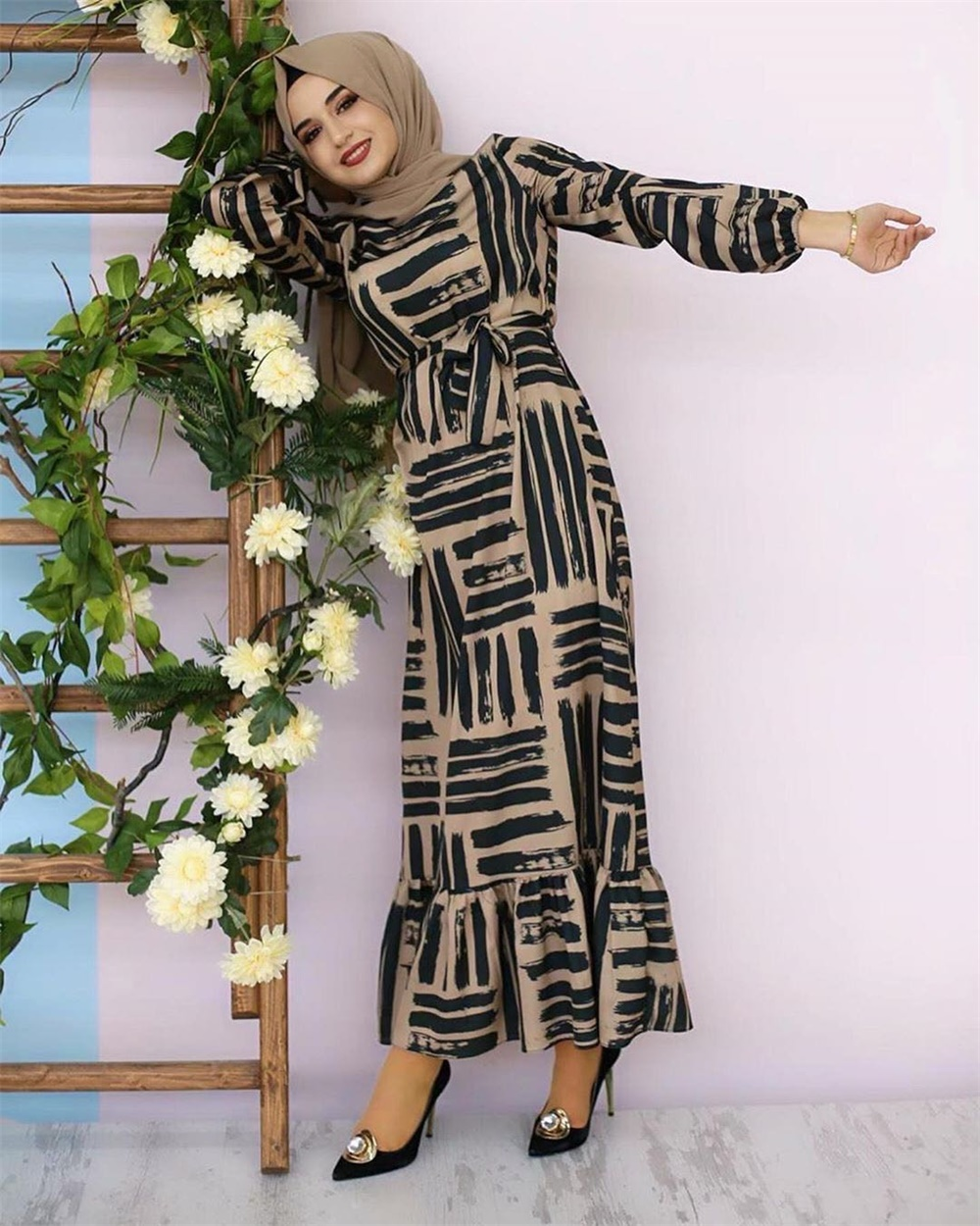 Eid Mubarek Muslim Fashion Dubai Abaya Turkey Hijab Summer Dress Kaftan Caftan Islam Clothing For Women Robe Femme Ete Vestidos (8)
