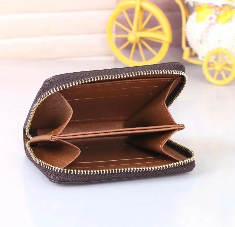 Best quality classic designer Wallet Mens zipper pocket coin purse Small leather bag Men Card holder fashion accessories Christmas gift