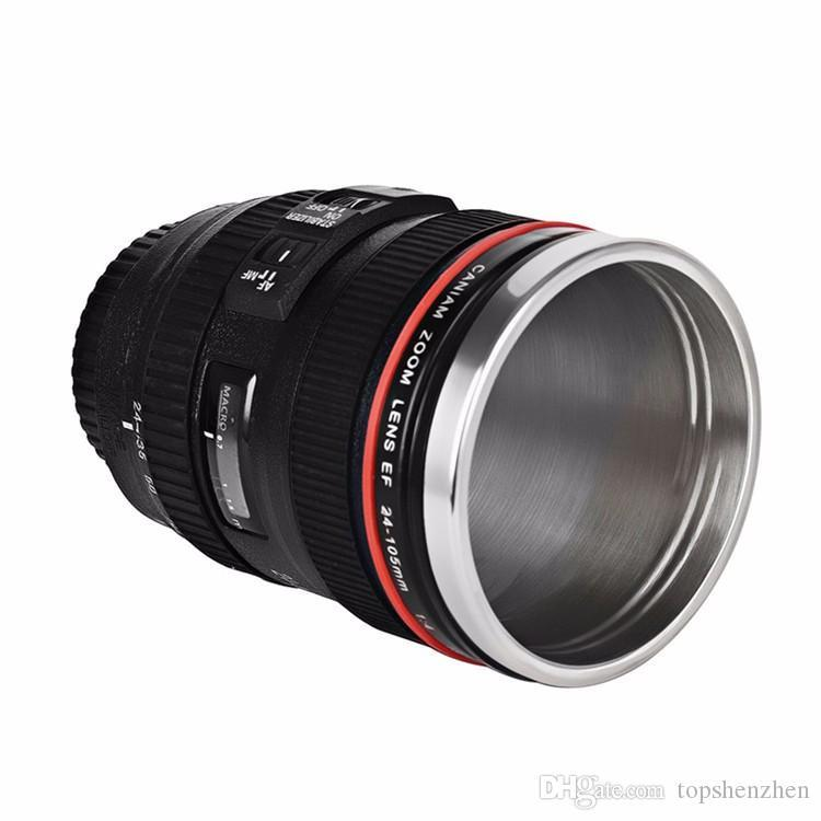 5 Generation Camera Lens Coffee Mug 13.5oz 400ml Stainless Steel Thermos Tumbler Travel Flask Milk Coffee Cups with Sealed Retractable lids