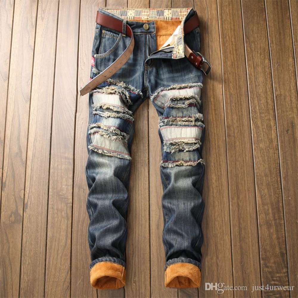 Men's Warm Lined Destroyed Ripped Biker Jeans Trousers Thick Thermal Denim Distressed Jeans For Men Jeans Pants