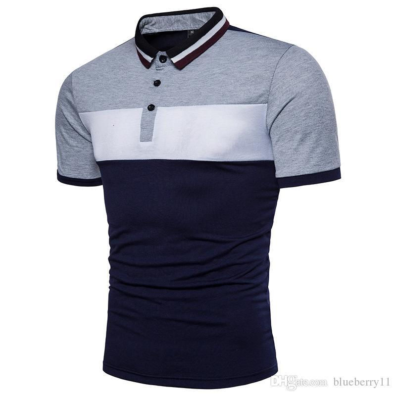 Short-Sleeved Men Shirt Contrast Color Stitching Summer Slim fit Cotton Yellow Gray Shirt Men Casual Office