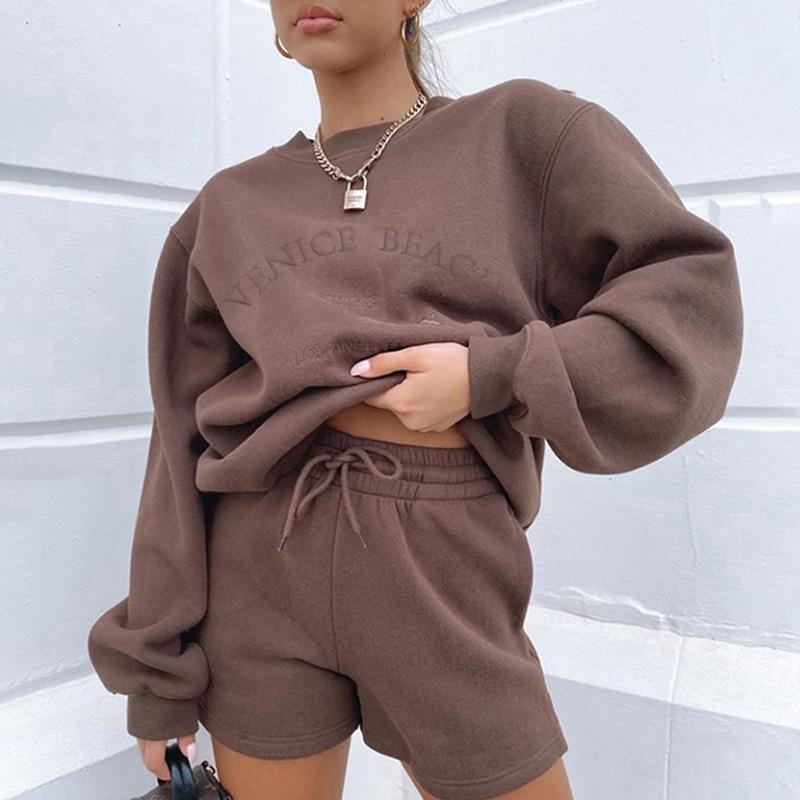 Letter Print Women 2 Piece Set Long Sleeve Sweatshirt Sweatshorts Loose Casual Tracksuit Loungewear 2021 Autumn Winter Women's Tracksuits