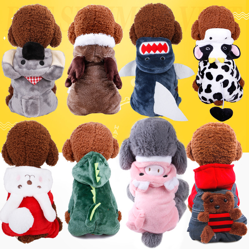 Dog Apparel Autumn and winter pet clothes, coral fleece puppy costume, cartoon dogs transform