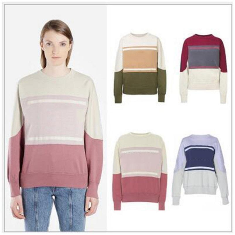 New French Style Ins Sweatshirt Color Matching Vintage O-Neck Long Sleeve Street Pullover Sweatshirts Fashion Spring Summer Sweater Shirt