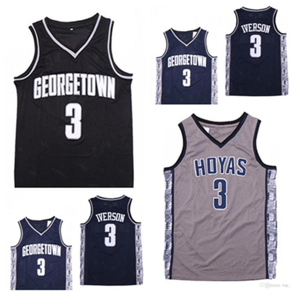 NCAA Jerseys Mens Georgetown Hoyas Iverson College Jersey 3ai University Basketball Wears Size S-2XL Quick delivery