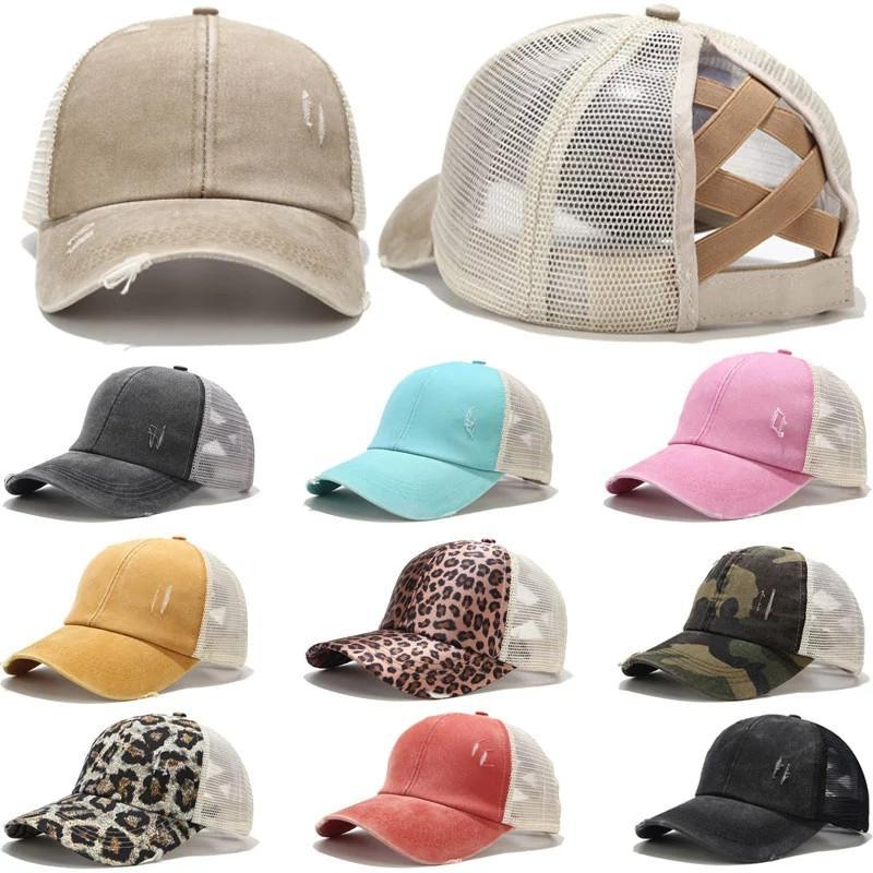 Ponytail Hat Washed Mesh Back Leopard Camo Hollow Criss Cross Ponytail Messy Bun Baseball Cap Girls Trucker Hat