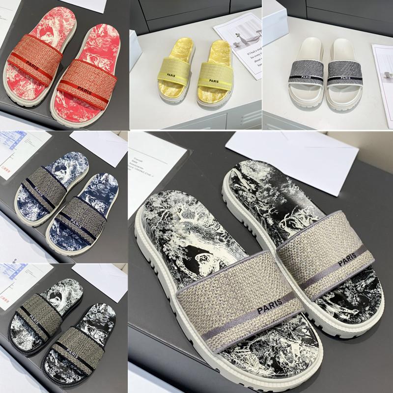 Luxury Designer Women Sandals High Slippers Slide Classic Rubber Embroidery Stripes Printed Flip Flops Beach Slipper Boots Size 35-40