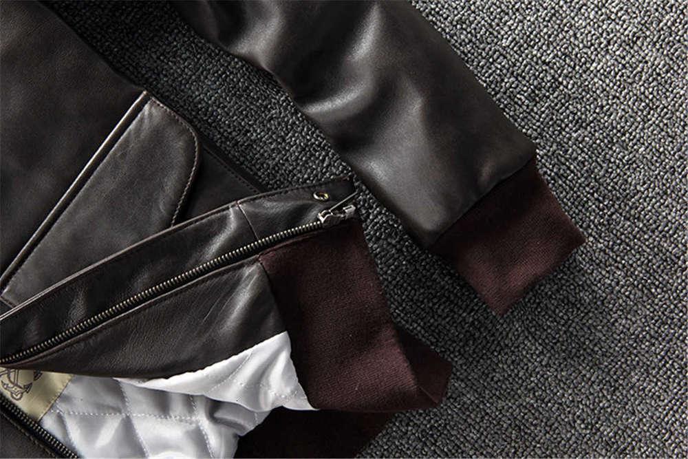 men's slim lapel short leather cotton coat bomber jacket New Zealand first layer genuine sheepskin leather