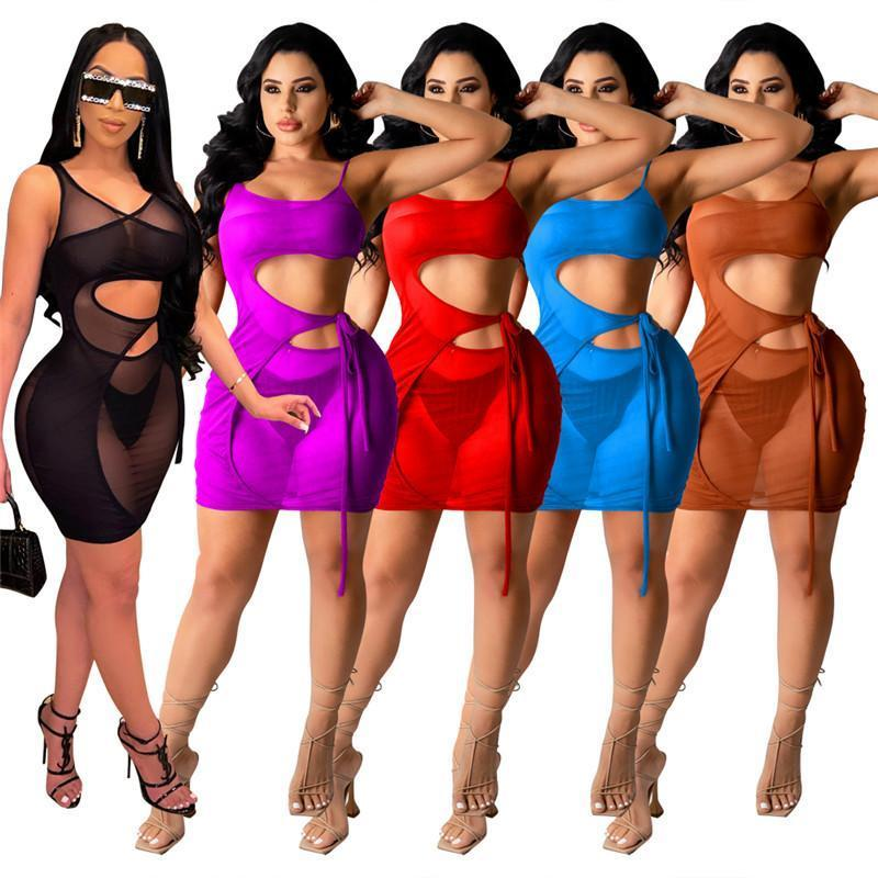 women summer dresses sexy mini gallus dress above-knee one piece set high quality bodycon skirt elegant backless clubwear klw6262