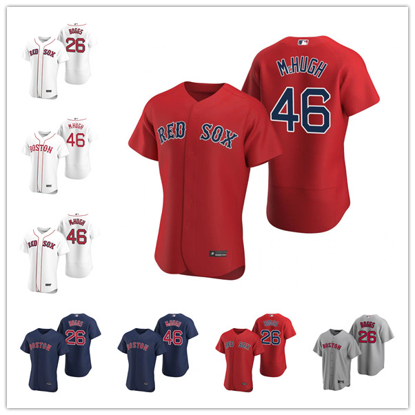 """Custom Mens women youth Boston""""Red Sox""""26 Wade Boggs 46 Collin McHughgrey black blue Authentic Weekend 2020 Home Jersey"""