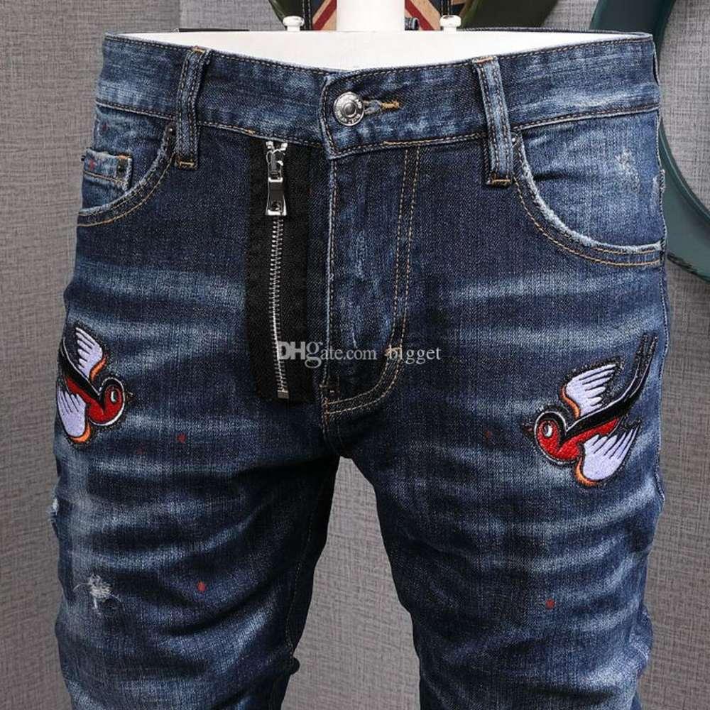Cool Guy Biker Jeans Bleach Distressed Paint Bird Patch Accent Damaged Slim Fit Cowboy Trousers Men