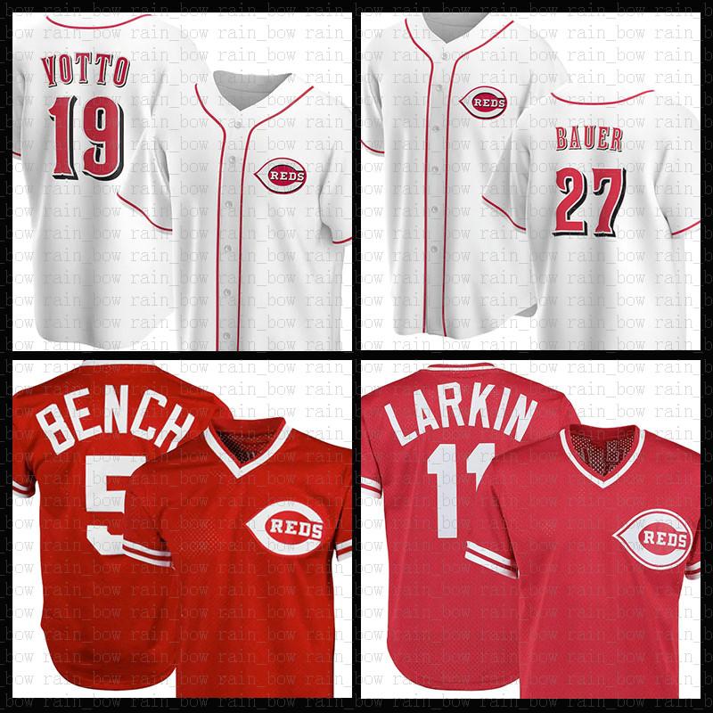 Cincinnati Baseball Jersey Reds Custom 19 Joey Votto 5 Johnny Bench 27 Matt Kemp 14 Pete Rose 11 Barry Larkin 30 Griffey Jr Tucker Barnhart