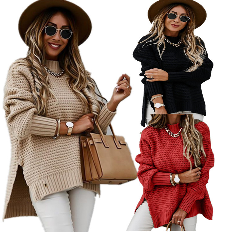 Women's Long Sleeve Knit Sweater Crew Neck Solid Color Pullover Jumper Tops 4 Colour Select Size(S-3XL)