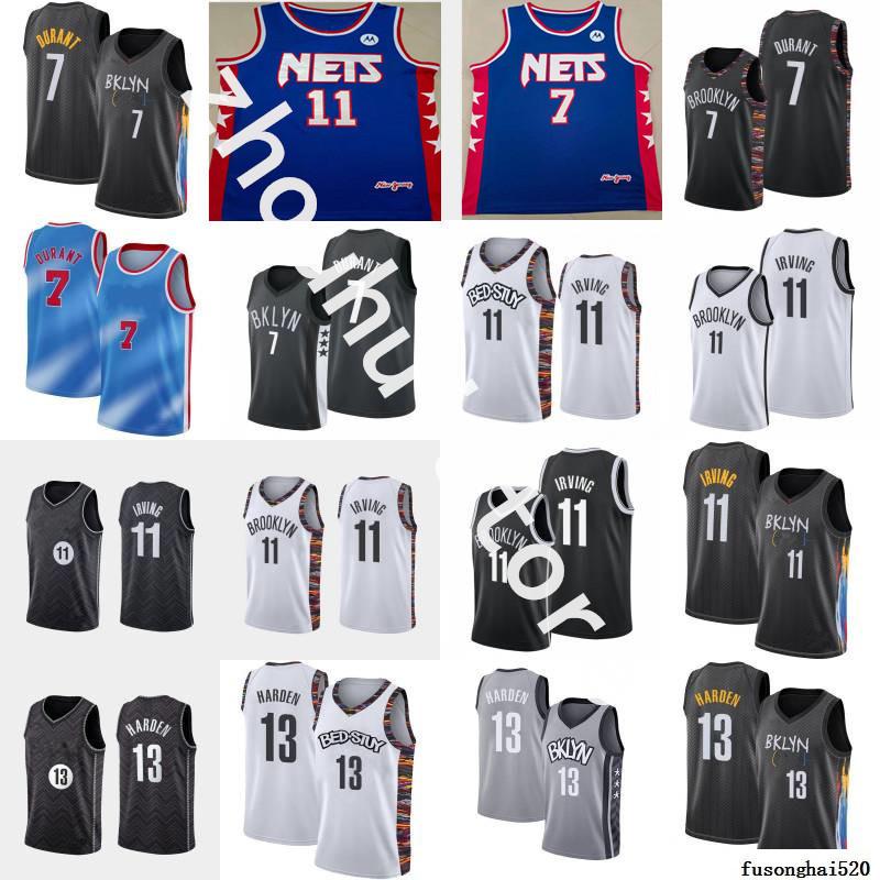 "Men Brooklyn""Nets""Basketball Jersey Kevin 7 Durant Kyrie 13 Harden City 11 Irving Blue Stitched""nba""Jerseys"