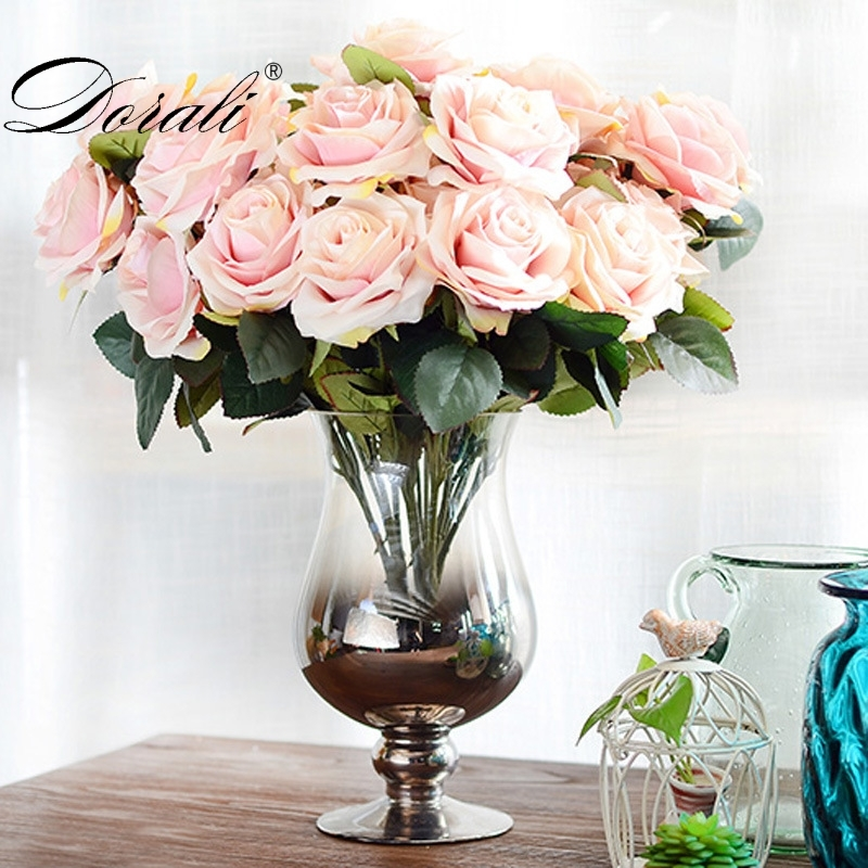 1 Bunch Artificial silk French Rose Floral Bouquet Fake Flower Arrange Table Daisy Wedding Flowers Decor Party accessory Flores