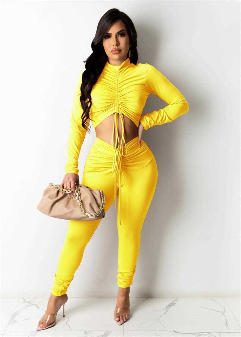 wholesale womens sportswear sexy crop top two piece set tracksuits outfits long sleeve trousers sweatsuit pullover tights legging suits klw7260