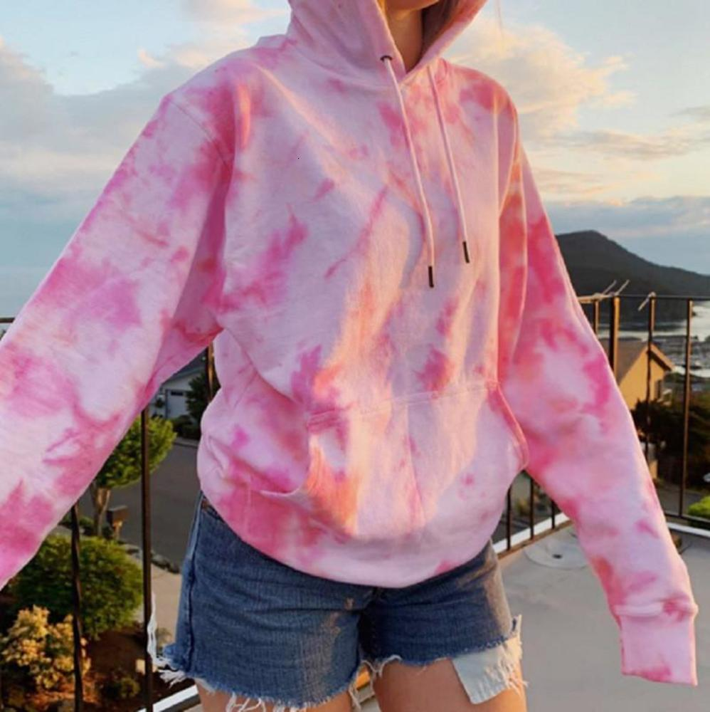 Womens Designer Hoodie Fashion Tie Dye Pattern Hoodies Casual O-Neck Long Sleeve Natural Color Hoodies Womens Clothes