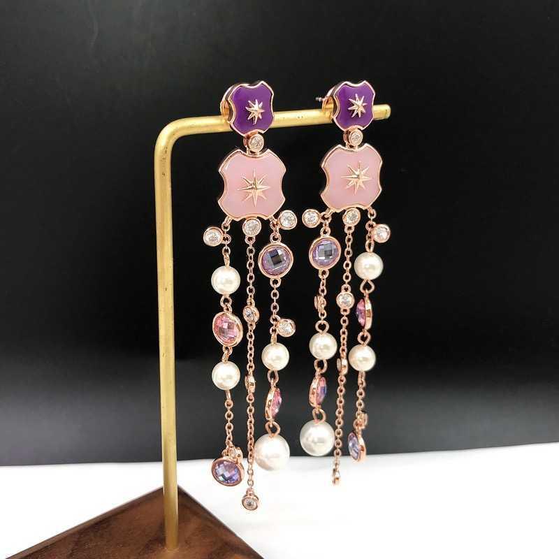 Fashion Jewelry 925 Sterling Earrings White Crystal Tassel Design Tassel Pearls Earrings Top Quality Fashion Party Women Jewelry