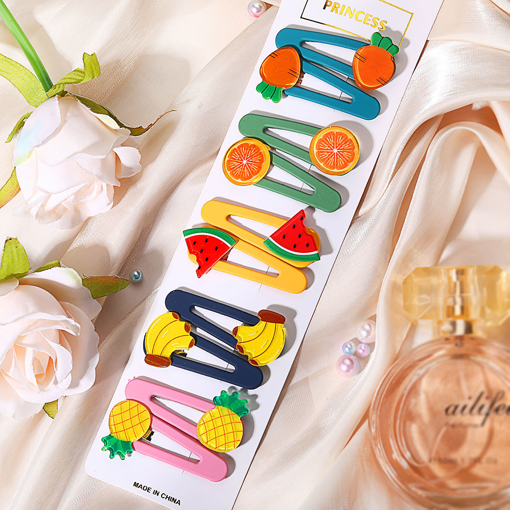 Korean Cute Fruit Vegetable Hairpin Bee Candy Sweet Daisy Flower Hairpin Clip Bangs Hair Accessories Clips Hairwear Barrettes Jewelry Set