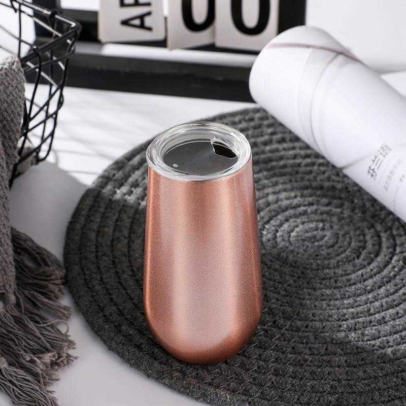 Wine Tumbler 6oz tumblers stainless steel double wall Insulation vacuum tumbler egg cup champagne mugs can sublimation with lid for gift