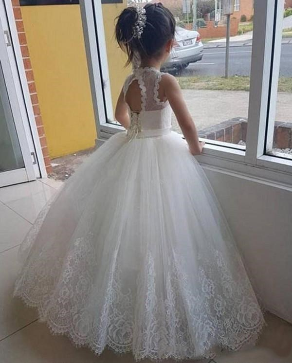 2019 White Tulle Flower Girl Dresses for Wedding Lace Applique Floor Length Girls Pageant Gowns Sleeveless Kids Birthday Prom Dress