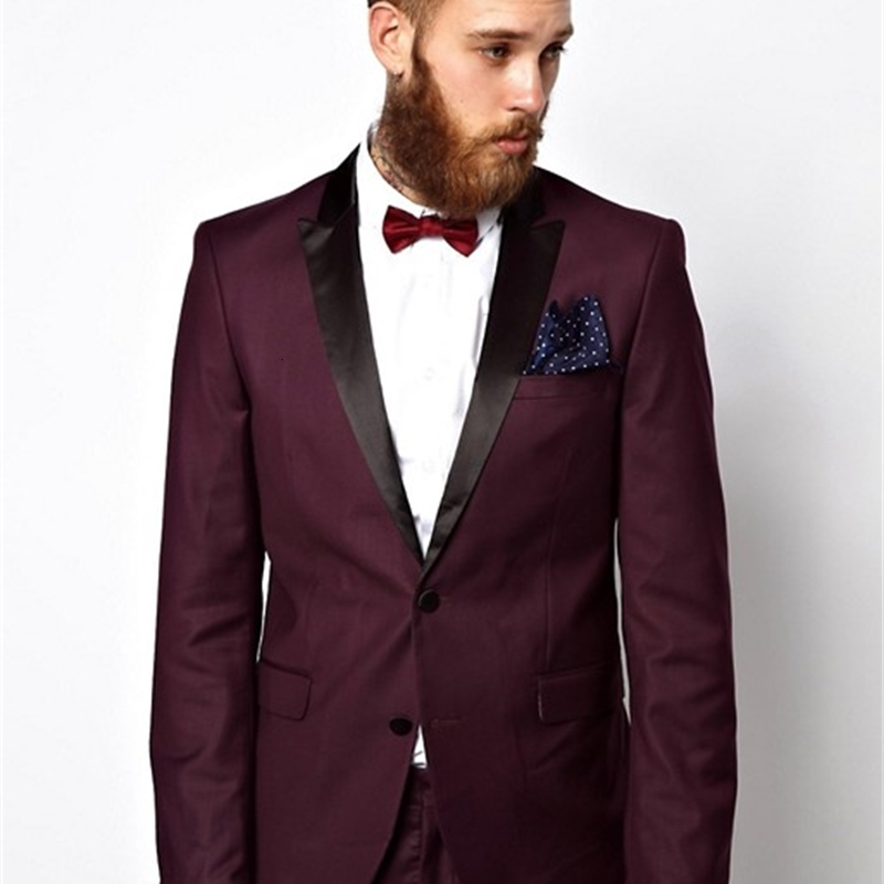 Burgundy Wedding Mens Suits Slim Fit Bridegroom Tuxedos For Men Two Pieces Groomsmen Pant Suit Two Buttons Formal Business Jackets