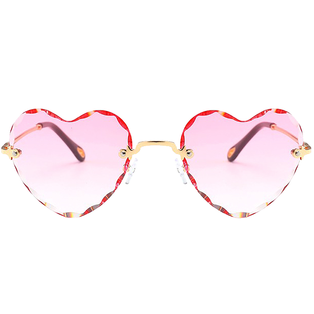 Women Stylish Heart Shaped Rimless Sunglasses Thin Metal Frame UV Protection Sun Glasses for for Beach Vacation Festival Fishing