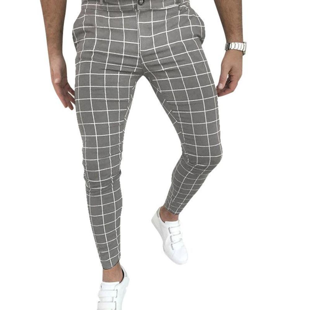 Mens Clothing New Zip Up Slimming Plaid Pants Black Loongewear Male Formal Trousers Business Grey Casual Male Pants