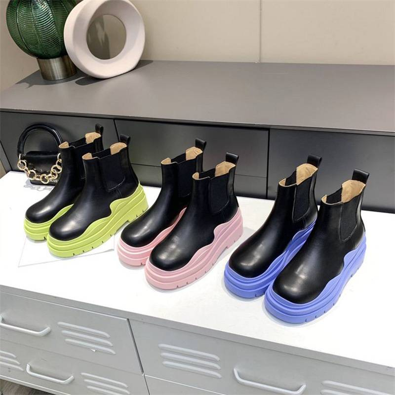 Designer Women Boots Platform Chunky Shoes Cowhide Boot Knight High-booties Round Toe Shoe Wavy Wild Comfortable Rubber Booties Box