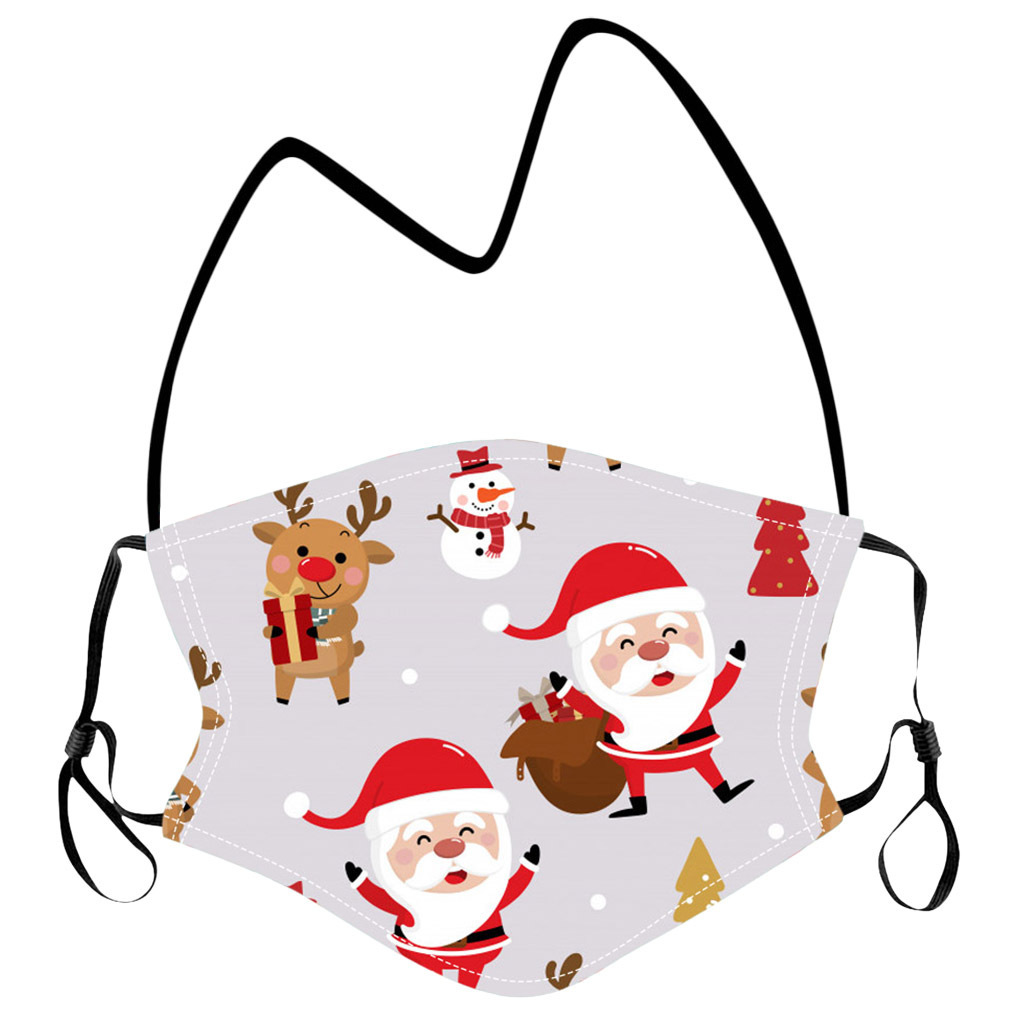 Hanging Neck Protective Mask with Filters Kids Cartoon Christmas Party Masks Washable Face Cover Lanyard for Children Free DHL LQQ59