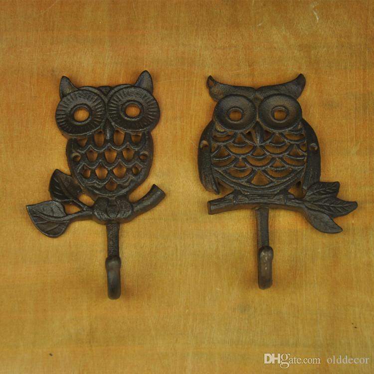 Cast Iron Owl Hook Metal Wall Mount Hooks Home Garden Key Coat Hanger Rack Holder Vintage Country Animal Decoration Brown Retro