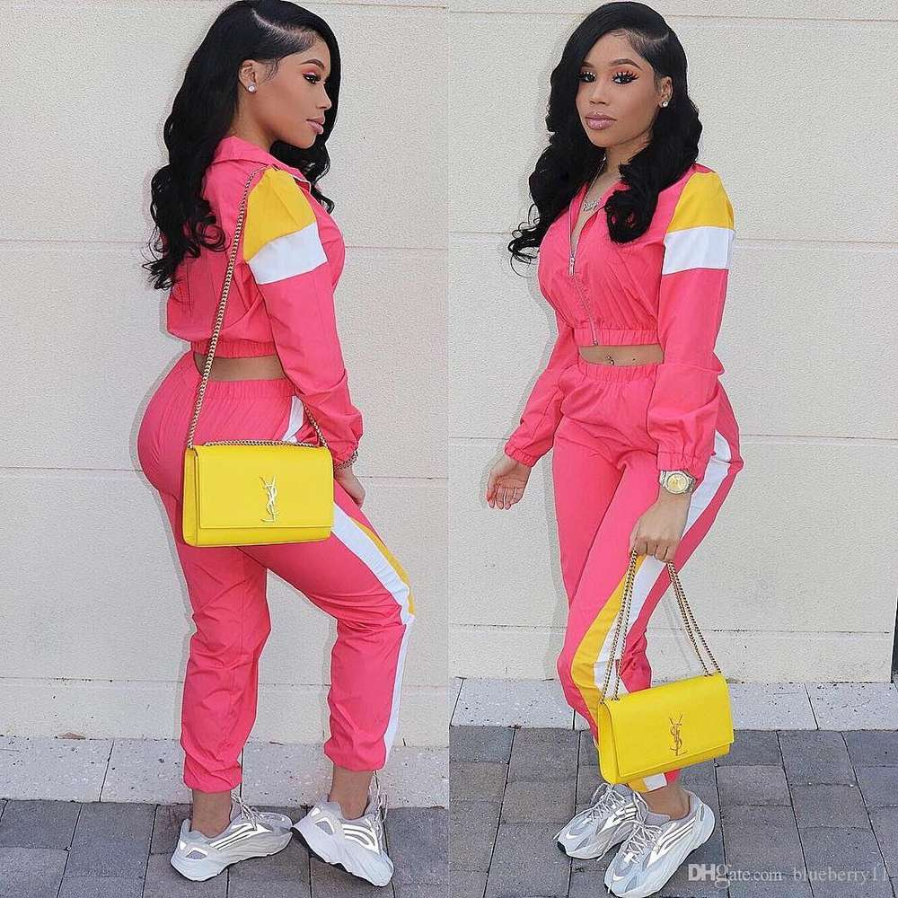 2 Two Piece Set Top and Pants Women Tracksuit Casual Outfit Sports Suit Green Patchwork Women Sweatsuits Clothing Size S-2XL