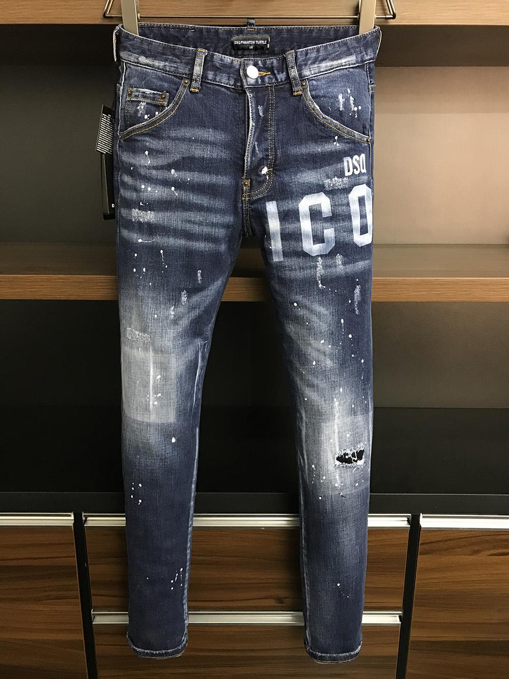 DSQ PHANTOM TURTLE Classic Fashion Man Jeans Hip Hop Rock Moto Mens Casual Design Ripped Jeans Distressed Skinny Denim Biker DSQ Jeans 81248