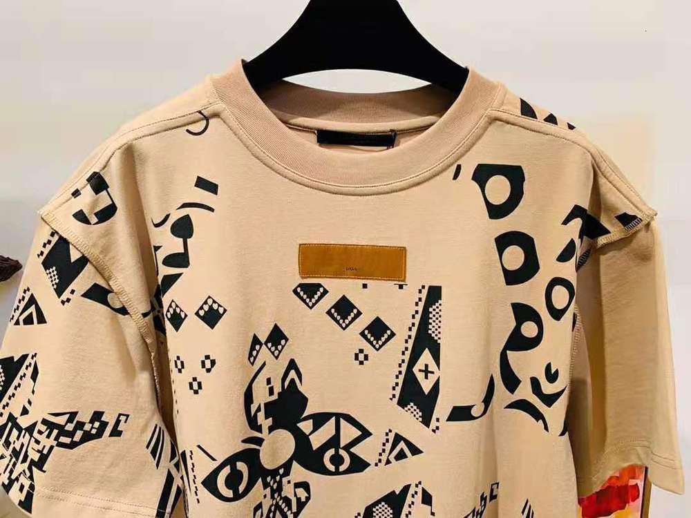 2021 Summer new mens designer luxury Beige t shirts ~ US SIZE tshirts ~ mens high quality designer short sleeve t shirts