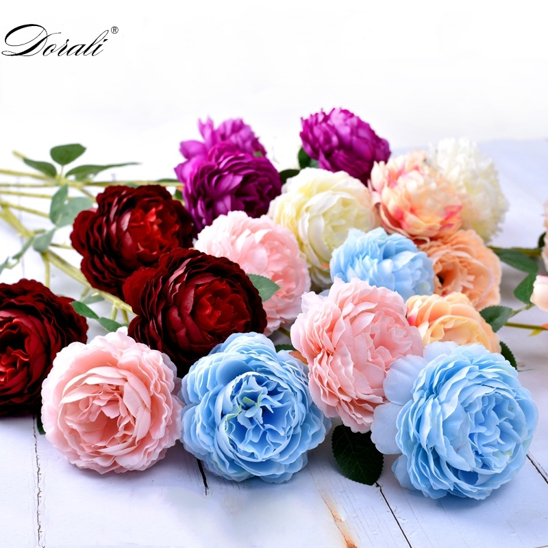 artificial peonies flowers silk bouquet for wedding decoration cheap small fake flowers home decor DIY high quality chinese made