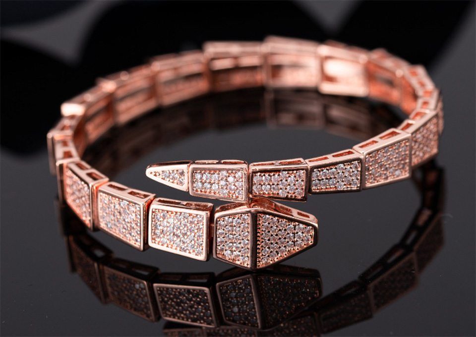 Donia jewelry three color electroplating exaggerated luxury micro inlay zircon ferocious animal Adjustable Bracelet personalized birthday gi