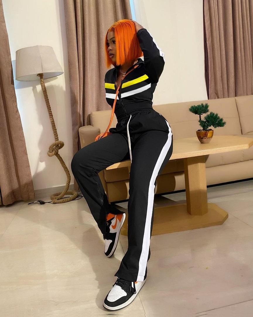 Fall Winter clothes womens 2 two piece clothing tracksuit striped zipper jackets split trousers outfits set plus size jogging sportswear