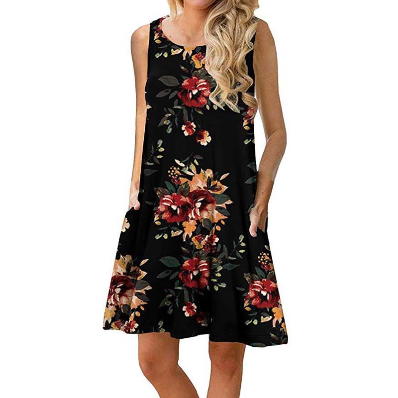 More colors Women Summer Floral Print Sleeveless Casual T Shirt Dresses Beach Cover Up Pleated Tank Dress