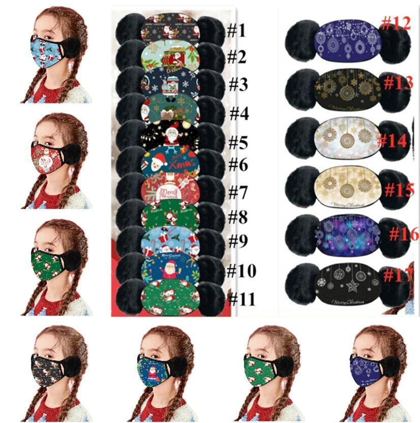 2 In 1 Child Cartoon Christmas Face Mask Cover Plush Ear Protective Thick Warm Kids Mouth Masks Winter Mouth-Muffle Earflap For Kids