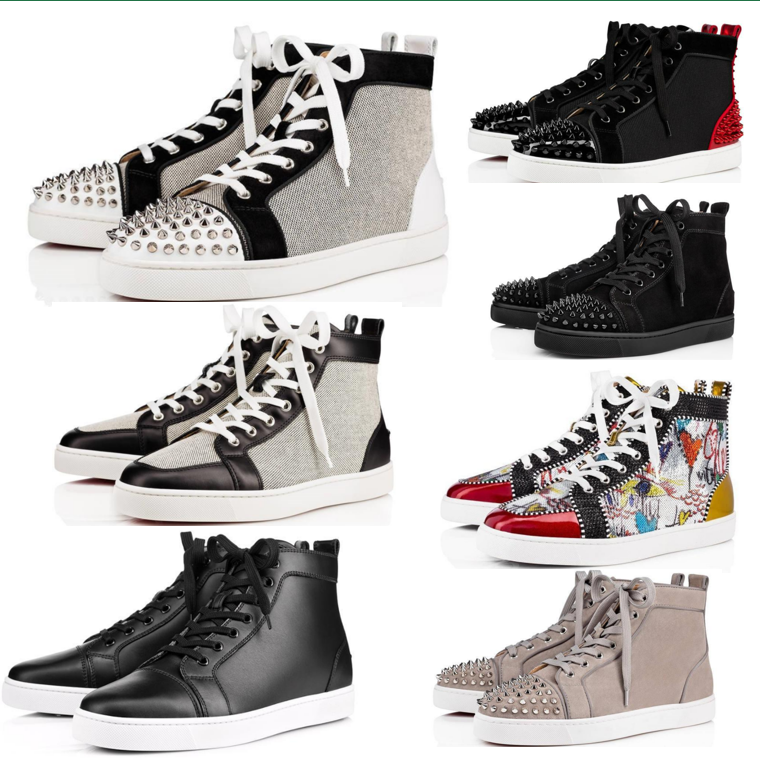 Men Women Couple Red Bottom Casual Shoes Rivet Studs Flat Shoe Designer Stylist Sneakers Brand Suede Patent Leather Trainers With box 35-48
