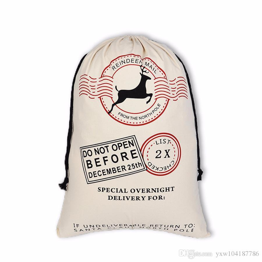 2020 New Christmas bags Large Canvas Monogrammable Santa Claus Drawstring Bag With Reindeers Monogramable Christmas Gifts Sack Bags
