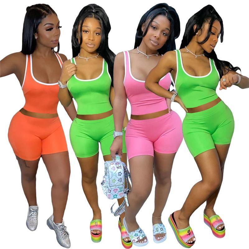 Women's Two Piece Pants Tracksuits Suit s pant Sleeveless tshirt Top + Shorts Fashion Sexy Sports solid color vest short Suits plus size S/M/L/XL/2XL red blue