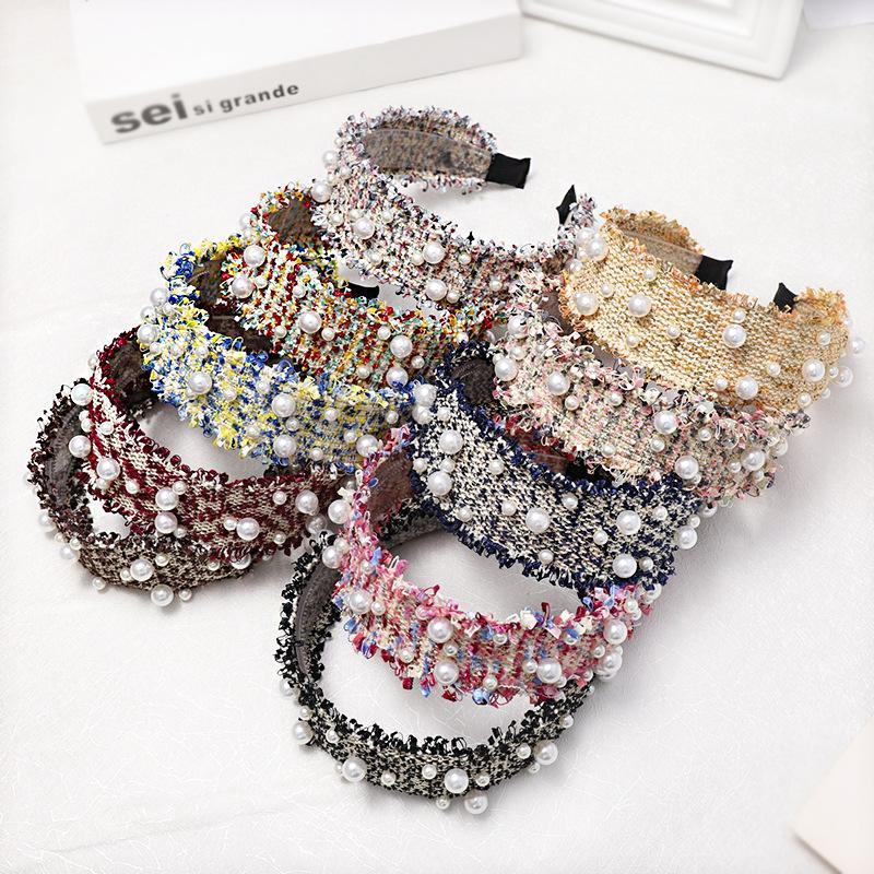 Women Fine Hair Accessories Handmade Pearl Hair Accessories Outdoor Party Ladies Hair Band Wide Sided Headband
