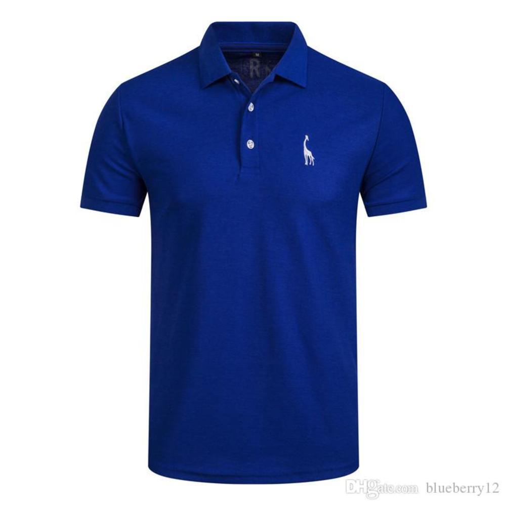 New Man Shirt Mens Casual Deer Embroidery Cotton shirt Men Short Sleeve men