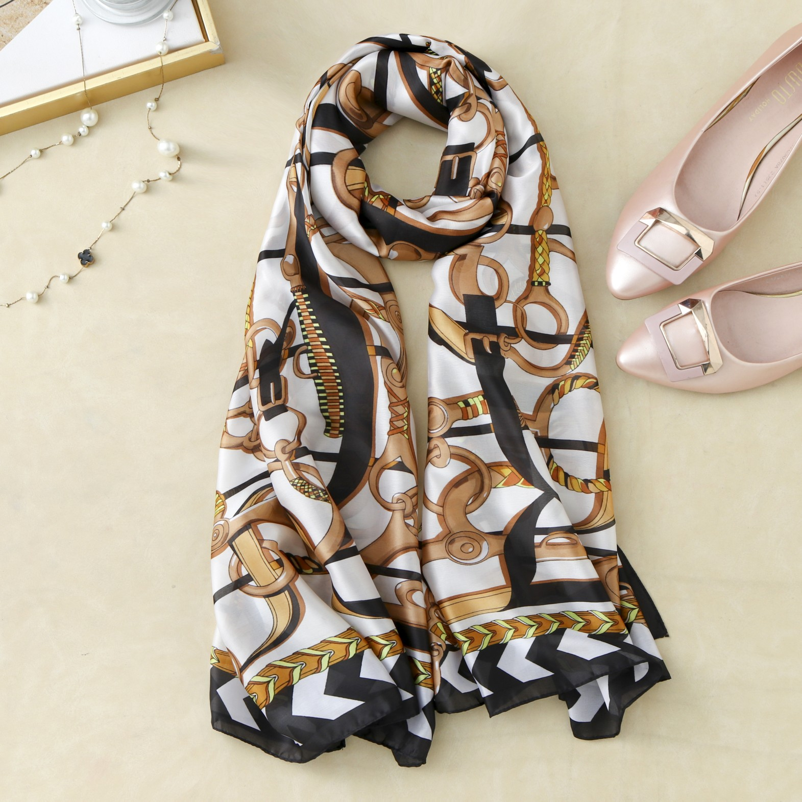 Satin Silk Feeling Scarf Women Head Scarfs Bundle Foulard Soie Female Shawl Ladies Colorful Pattern Print Scarves