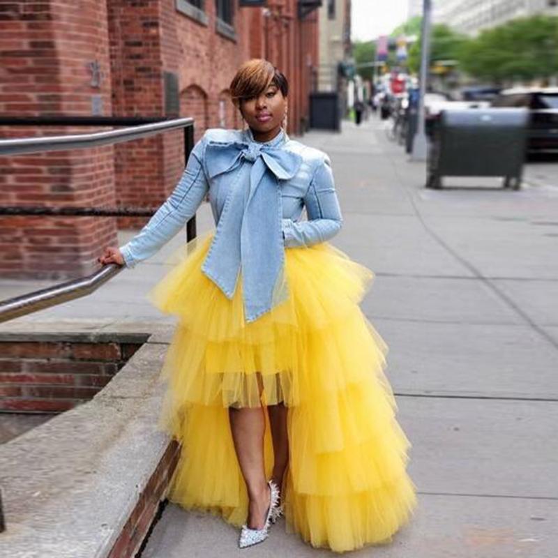 Yellow High Street Low Wome Tulle Skirts Ruffle Puffy Zipper Waist Maxi Skirt Tiered Women Long